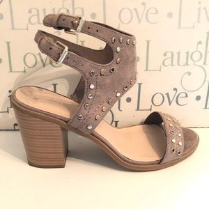 Shoes - J Adams Open Toe Studded Ankle Strap Taupe Sandals